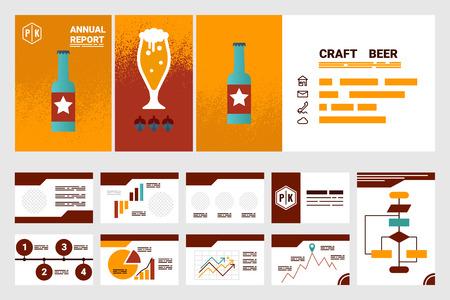 Ilustración de la compañía de cerveza artesanal informe anual portada A4 y plantilla de presentación y diseño plano iconos elementos, ideal para información de la empresa o el informe infografía Ilustración de vector