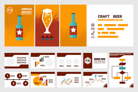 Illustration of craft beer company annual report cover A4 sheet and presentation template and flat design icons elements, ideal for company information or infographic report