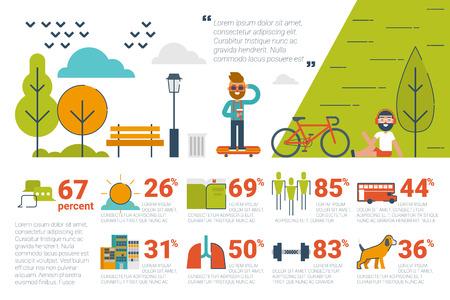 banc de parc: Illustration du concept de parc infographique avec des icônes et des éléments