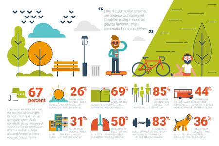 central park: Illustration of park infographic concept with icons and elements