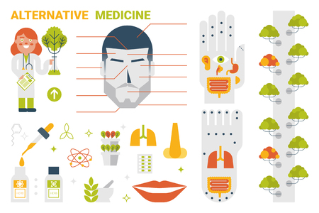 holistic health: Illustration of alternative medicine infographic concept with icons and elements