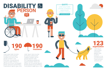 care at home: Illustration of disability person infographic concept with icons and elements Illustration
