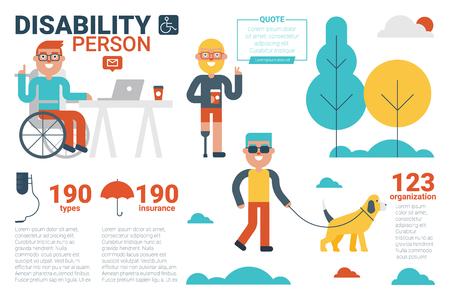 piernas hombre: Ilustración de la persona que la discapacidad concepto infografía con los iconos y elementos Vectores