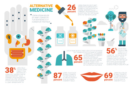 hydroponic: Illustration of alternative medicine infographic concept with icons and elements