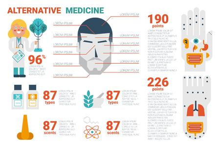 Ilustración de la medicina alternativa concepto infografía con los iconos y elementos Ilustración de vector