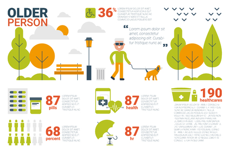 older couple: Illustration of older person infographic concept with icons and elements
