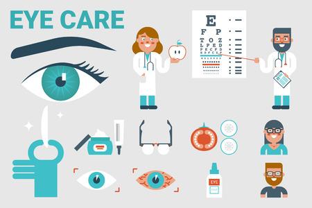 Abbildung der Augenpflege Infografik-Konzept mit Symbolen und Elementen Vektorgrafik