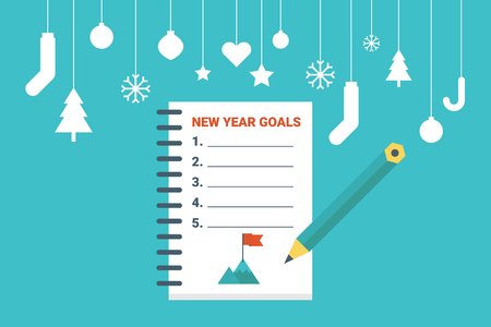 new years resolution: Illustration of new year goals list, flat design concept with icons elements Illustration
