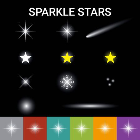 Realistic glowing sparkle stars and lens flare light effect, work on any color background