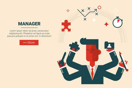 Manager avec des éléments flottants dans le concept de gestion de projet, design plat pour le site de la page d'atterrissage ou de matériel d'impression