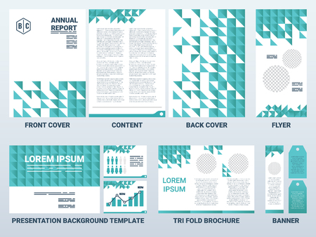pattern corporate identity orange: Background of A4 sheet cover and presentation template in green theme with flat design elements, ideal for company information or infographic report Illustration
