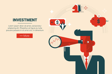 money market: Businessman with floating elements in wise investment strategy concept, flat design for landing page website or print material