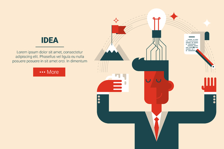 background coffee: Businessman with floating elements in innovation creative idea concept, flat design for landing page website or print material Illustration
