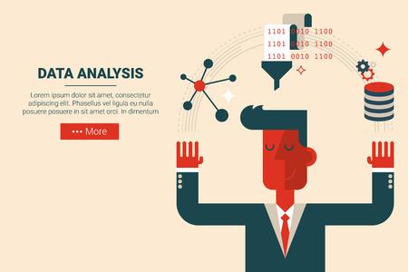 Geschäftsmann mit schwimmenden Elemente in der Datenanalyse Forschungskonzept, flaches Design für Zielseite Website oder Druckmaterial