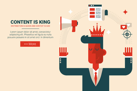 Marketing man with floating elements in content is king concept, flat design for landing page website or print material