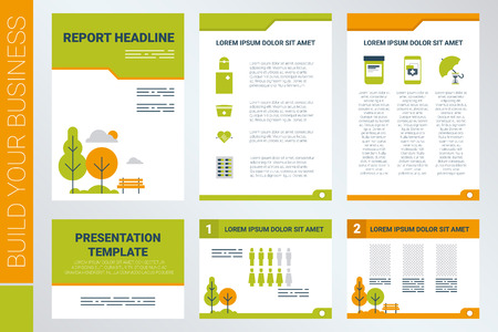 magazine: Background of A4 sheet cover and presentation template in green theme with flat design elements, ideal for company information or infographic report Illustration