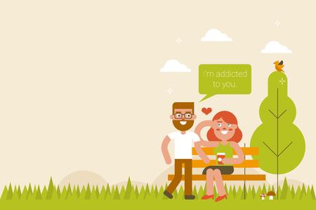enamorados caricatura: Lovely pareja en el parque en la temporada de primavera, el concepto de d�a de San Valent�n