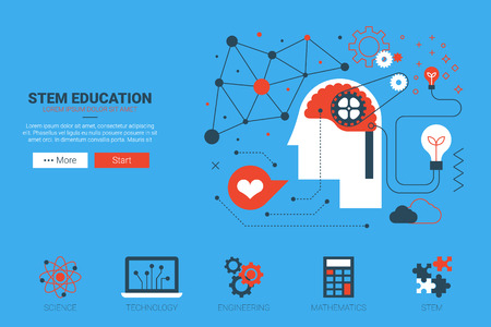 기술: 평면 디자인의 아이콘 STEM- 과학, 기술, 엔지니어링 및 수학 웹 사이트 개념