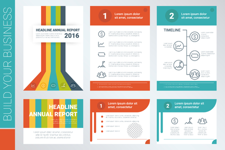 book cover design: Annual report A4 book cover and presentation template with flat design elements, ideal for company information or infographic report