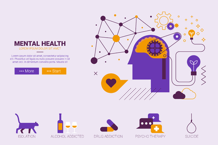 solitary: Flat design illustration of mental health and depression concept with icons