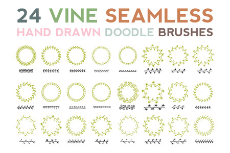 align: VINE hand drawn doodle seamless 24 different brushes which is perfectly align Illustration
