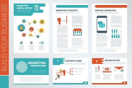 magazine template: Content marketing A4 book cover and presentation template with flat design elements, ideal for company information or infographic report Illustration