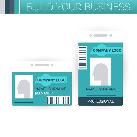 press: Business badge template design in green theme