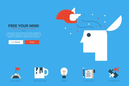 free your mind: Free your mind - creative idea  concept illustration website with icon in flat design