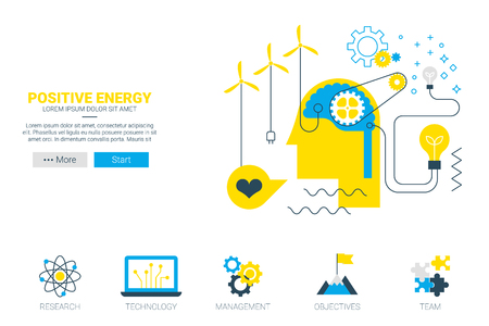 positive energy: Positive energy - alternate energy  concept illustration website with icon in flat design
