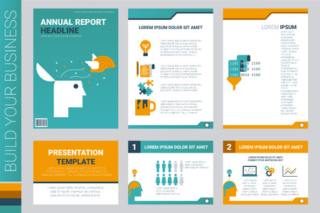 Annual report book cover and presentation template .