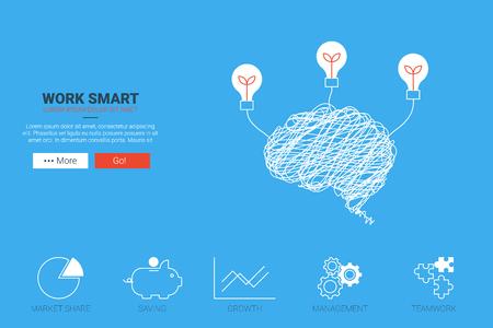 Work smart flat design for landing page website or magazine illustration print