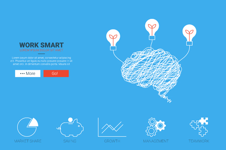 Work smart flat design for landing page website or magazine illustration print