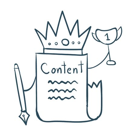 writing lines: Hand drawn content is king concept on white background Illustration