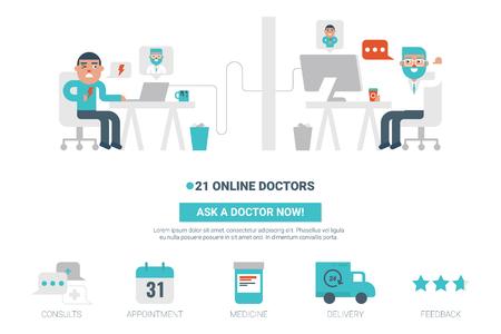 Online dokter plat ontwerp voor landingspagina website of magazine illustratie print