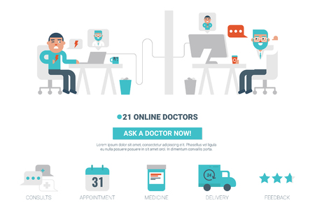 Online doctor flat design for landing page website or magazine illustration print
