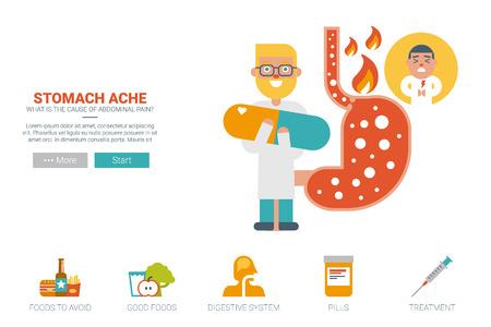 beer belly: Stomache ache health concept flat design.
