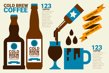 cold: Cold brew coffee infographic flat design concept illustration Illustration