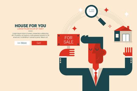 bienes raices: diseño plano propiedades inmobiliarias a la página web página de destino o una revista de impresión ilustración