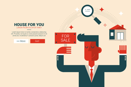 Real Estate flat design for landing page website or magazine illustration print Ilustração