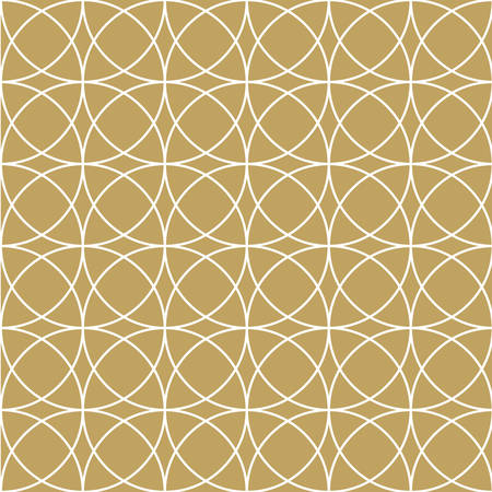 gorgeous: Elegant white circle seamless and repeatable pattern on gold abstract background
