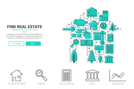 real state: Real state flat design for landing page website or magazine illustration print