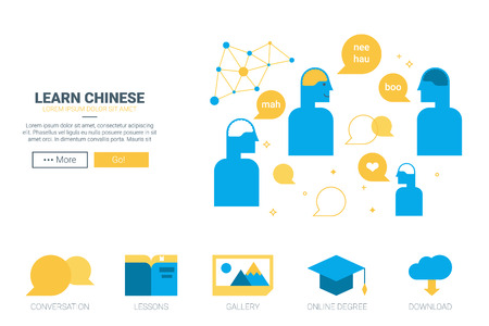 languages: Learn chinese concept with blue characters Illustration