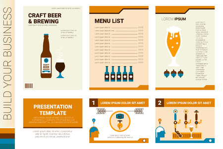 microbrewery: Craft beer book cover and presentation template with flat design.