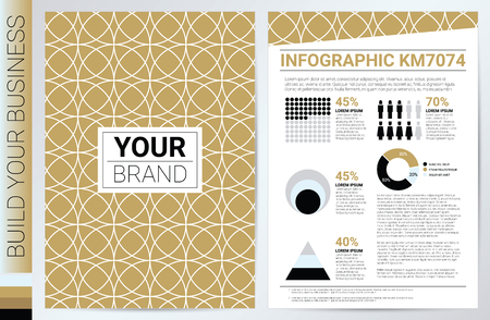 circle pattern: Elegan gold circle pattern book cover in A4 size template with flat design charts, ideal for company information or infographic annual report Illustration