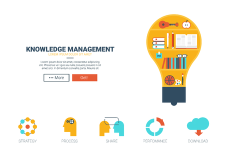 knowledge: Knowledge management concept flat design for website template or magazine illustration print