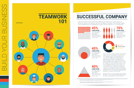 book concept: Teamwork concept book cover in A4 size template with flat design charts, ideal for company information or infographic annual report