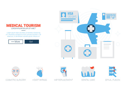 hip replacement: Medical and health tourism concept flat design for website template or magazine illustration print