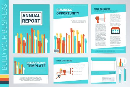 inovation: Hands raising book cover and presentation template with flat design elements, ideal for company information or infographic annual report