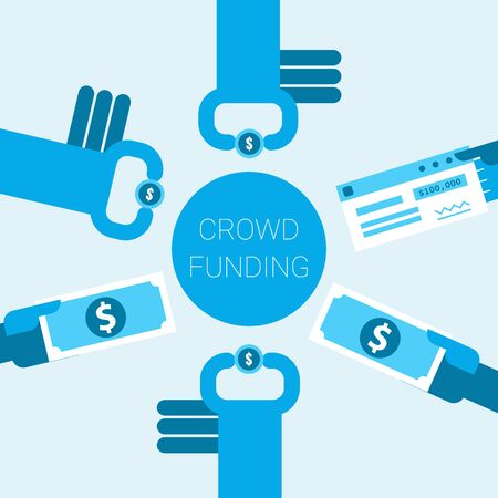collective: Hands giving money in crowdfunding or charity concept illustration