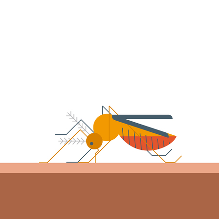 bites: Mosquito bites skin in flat design illustration